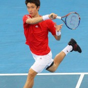 Suk-Young Seong competes against Matt Ebden on the first day's play of the Davis Cup tie between Australia and Korea in Brisbane.