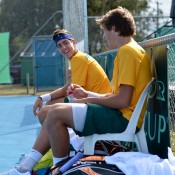 Thanasi Kokkinakis (L) and Daniel Guccione in doubles action at the Junior Davis Cup Asia/Oceania qualifying competition in Bendigo; Bill Conroy