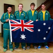 Australian Junior Davis Cup team (L-R) Li Tu, captain Mark Woodforde, Daniel Guccione and Thanasi Kokkinakis; Tennis Australia