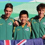 Australian Junior Davis Cup team (L-R) Thanasi Kokkinakis, Li Tu and Daniel Guccione; Bill Conroy