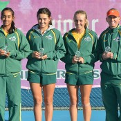 Australia's Junior Fed Cup team (L-R) Naiktha Bains, Isabelle Wallace, Zoe Hives and captain Nicole Pratt; Bill Conroy
