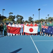 (L-R) Australian and Chinese Junior Fed Cup teams and Japanese and Australian Junior Davis Cup teams at the presentation following the conclusion of the Asia/Oceania qualifying competition in Bendigo; Bill Conroy
