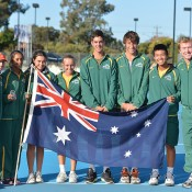 Australia's Junior Fed and Davis Cup teams pose together following the conclusion of the Asia/Oceania qualifying competition in Bendigo; Bill Conroy