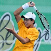 Li Tu in action in the first singles rubber of the Australia v Japan final as part of the Junior Davis Cup Asia/Oceania qualifying competition final; Bill Conroy
