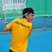 Thanasi Kokkinakis in action during his singles win in the second rubber of the Australia v Japan final at the Asia/Oceania qualifying competition in Bendigo; Bil Conroy