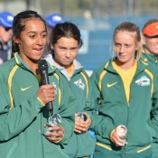 Naiktha Bains speaks on behalf of the Australian Junior Fed Cup team following their loss to China in the final of the Asia/Oceania qualifying competition in Bendigo; Bill Conroy