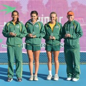 Australia's Junior Fed Cup team (L-R) Naiktha Bains, Isabelle Wallace, Zoe Hives and captain Nicole Pratt; Bill Conroy
