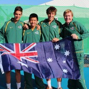 Australia's victorious Junior Davis Cup team (L-R) Thanasi Kokkinakis, Li Tu, Daniel Guccione and captain Mark Woodforde; Bill Conroy