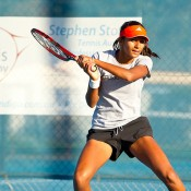 Naiktha Bains hits up at an Aussie team practice session ahead of the Junior Fed Cup competition; Tennis Australia