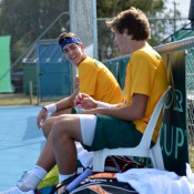 Thanasi Kokkinakis (L) and Daniel Guccione paired up in doubles in Australia's Junior Davis Cup tie against New Zealand; Bill Conroy