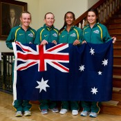 Australia's Junior Fed Cup team (L-R) Zoe Hives, captain Nicole Pratt, Naiktha Bains and Isabelle Wallace