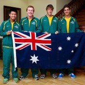 Australia's Junior Davis Cup team (L-R) Li Tu, captain Mark Woodforde, Daniel Guccione and Thanasi Kokkinakis