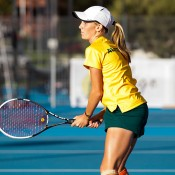 Zoe Hives during an Australian team practice session ahead of the Junior Fed Cup Asia/Oceania qualifying competition in Bendigo; Tennis Australia