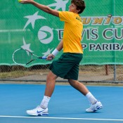 Daniel Guccione wallops his big serve as part of the Junior Davis Cup Asia/Oceania qualifying competition in Bendigo; Bill Conroy