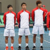 The Korean Davis Cup team at the Opening Ceremony of the Davis Cup tie between Australia and Korea in Brisbane.