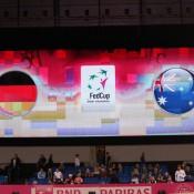 The giant screen at Porsche Arena in Stuttgart; Tennis Australia
