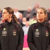 Germans Andrea Petkovic (L) and Julia Goerges; Tennis Australia