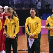 (L-R) David Taylor, Olivia Rogowska, Casey Dellacqua and Jarmila Gajdosova; Tennis Australia