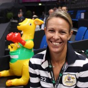 Australian Fed Cup coach Nicole Bradtke, accompanied by an inflatable Australian mascot; Tennis Australia