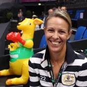 Australian Fed Cup coach Nicole Bradtke, accompanied by an inflatable Australian mascot; Tennis Australia