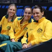 (L-R) Olivia Rogowska, Jarmila Gajdosova and Casey Dellacqua support teammate Sam Stosur from the sidelines in Stuttgart; Tennis Australia