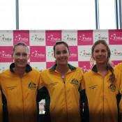 The Australian Fed Cup team (L-R) Casey Dellacqua, Sam Stosur, Jarmila Gajdosova, Olivia Rogowska and captain David Taylor; Tennis Australia
