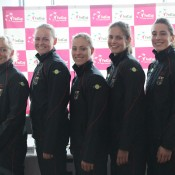The German Fed Cup team (L-R) captain Barbara Rittner, Anna-Lena Groenefeld, Angelique Kerber, Julia Goerges and Andrea Petkovic; Tennis Australia