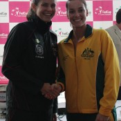 Julia Goerges (L) and Jarmila Gajdosova will contest the second singles rubber of the tie on Saturday; Tennis Australia