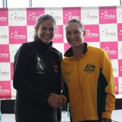 Julia Goerges (L) is expected to take on Sam Stosur in the reverse singles on Sunday; Tennis Australia