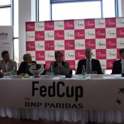 The Fed Cup official draw commences in Stuttgart, with the panel including Tennis Australia president Steve Healy (right); Tennis Australia