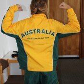 Olivia Rogowska shows off her muscles in her Australia Fed Cup team outfit; Tennis Australia