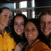 The Aussie girls enjoy a snap at the official Fed Cup draw ceremony (L-R) Sam Stosur, Jarmila Gajdosova, Casey Dellacqua and Olivia Rogowska; Tennis Australia
