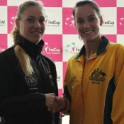 Angelique Kerber (L) is scheduled to battle Jarmila Gajdosova in the reverse singles on Sunday; Tennis Australia