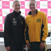 Angelique Kerber (R) and Sam Stosur will do battle in the opening singles match of the tie on Saturday; Tennis Australia