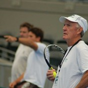 Australian Davis Cup coach Tony Roche at a practice session in Brisbane.