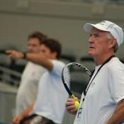 Australian Davis Cup coach Tony Roche at a practice session in Brisbane.