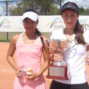 Lizette Cabrera (left) and Sara Tomic (right) after the 2012 Optus 14s National Claycourt Championships final in Ipswich, Queensland.