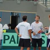 The Australian Davis Cup team talk tennis at the Queensland Tennis Centre.