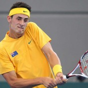 Bernard Tomic in action on Day 3 of the Davis Cup tie between Australia and Korea: Getty Images