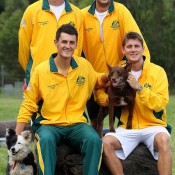 The Australian Davis Cup team at the official draw for the tie between Australia and Korea in Brisbane: Getty Images