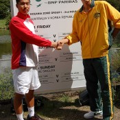 Bernard Tomic and Min-Hyeok Cho at the Davis Cup draw in Brisbane. Kim Trengove/Tennis Australia