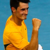 Bernard Tomic wins the opening singles against Korea: Davis Cup 2012 - Getty Images.