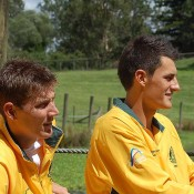 Matt Ebden and Bernard Tomic at the Davis Cup draw in Brisbane. Kim Trengove/Tennis Australia