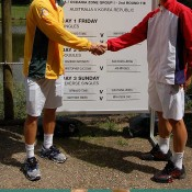 Matt Ebden and Suk-Young Jeong at the Official Davis Cup draw in Brisbane. Kim Trengove/Tennis Australia