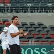 Davis Cup captain Pat Rafter at a practice session in Brisbane.