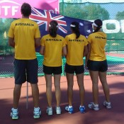 The Australian girls' team proudly display their team uniforms; Wee Photography