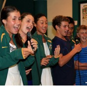 The Australian girls' and boys' teams try their hand at karaoke at the World Junior Tennis Competition official dinner in Kuching, Malaysia (L-R) Sara Tomic, Kimberly Birrell, Priscilla Hon, Oliver Anderson, Brian Tran and Scott Jones; Wee Photography