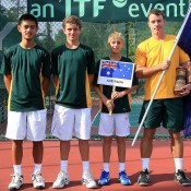 The Australian boys' team of (L-R) Brian Tran, Oliver Anderson, Scott Jones and captain Jarrad Bunt at the World Junior Tennis Competition; Wee Photography