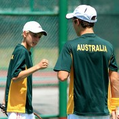 Scott Jones (L) and Oliver Anderson in action for Australia at the World Junior Tennis competition in Kuching, Malaysia; Wee Photography