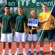 The Australian team at the World Junior Tennis Championships in Kuching, Malaysia (L-R) Brian Tran, Oliver Anderson, Scott Jones and captain Jarrad Bunt; photo credit Wee Thian Yew
